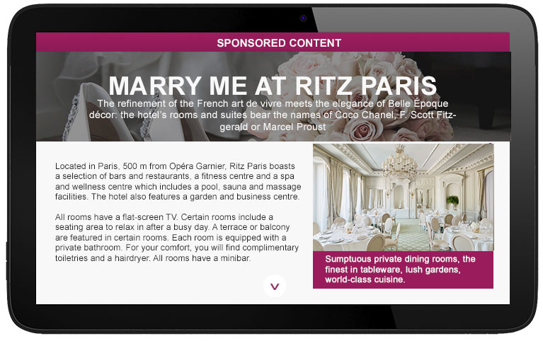 hotel advertising on airlines digital magazine